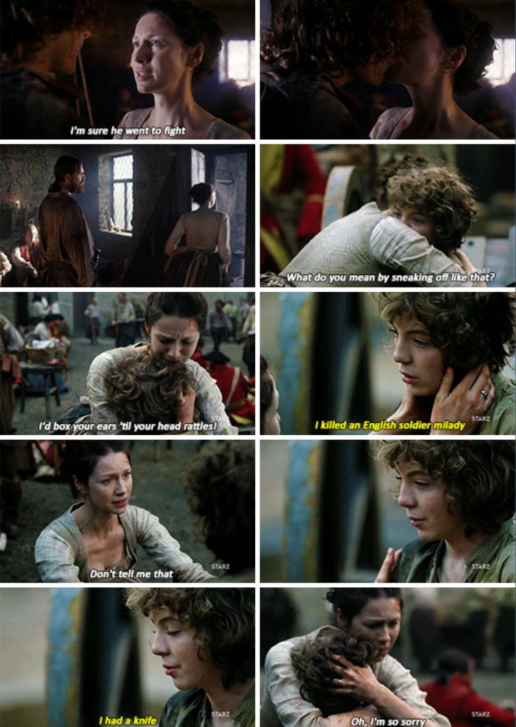 """I killed an English soldier, Milady. I had a knife"" - Fergus and Claire #Outlander"