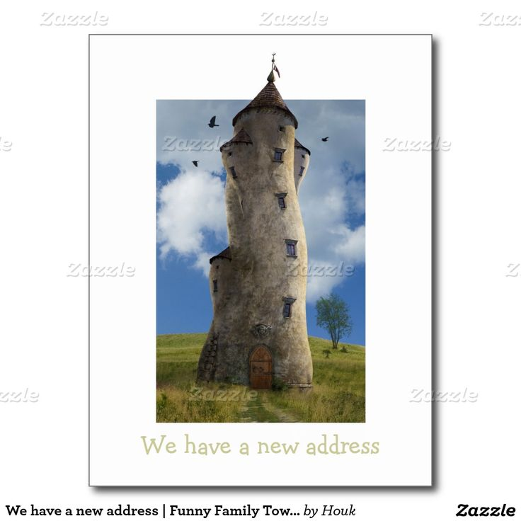 We have a new address | Funny Family Tower Postcard
