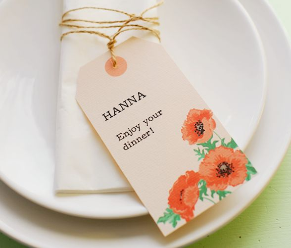 Free printable floral invitations & place card tags (poppies in red & orange) from Hey Look