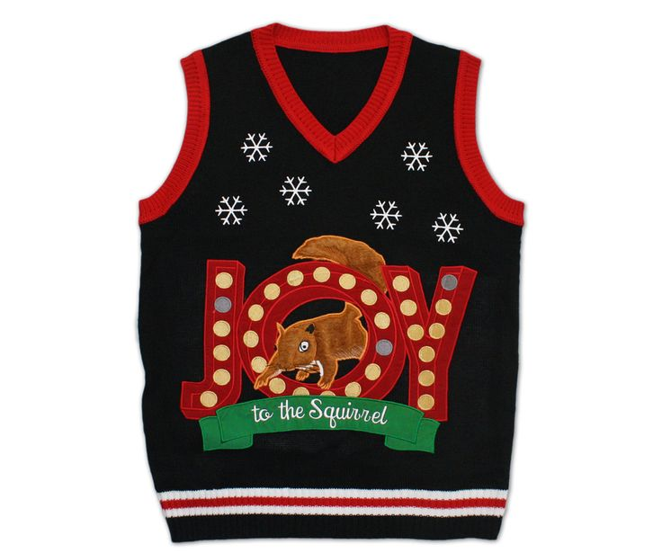 Lighted 'Joy to the Squirrel' Christmas Vacation Sweater Vest ...
