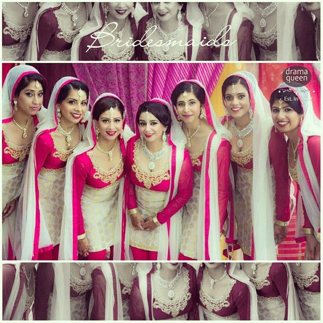 something like this for the bridesmaids but orange/peach with cream and salwars.
