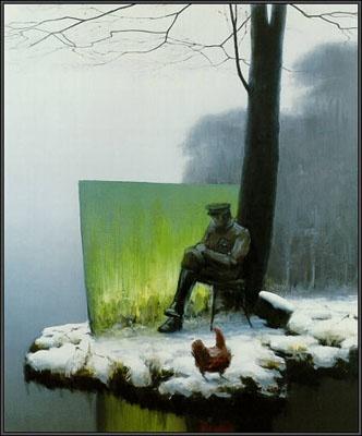 Vinterdag med grønt tableau