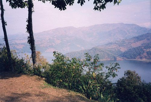 Begnas Lake (Tal), just outside of Pokhara near the western himalayas (Annapurnas).  View from the hillside over the lake.