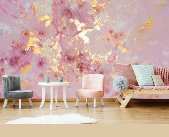 Große Decke Pink Purple Gold Marble Wallpaper Wall Sticker Decor