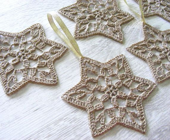 Christmas stars, crochet snowflakes, star of David, set of 6, Christmas tree ornament, home decoration, wall hanging, Hanukkah, beige gold. $15.99, via Etsy.
