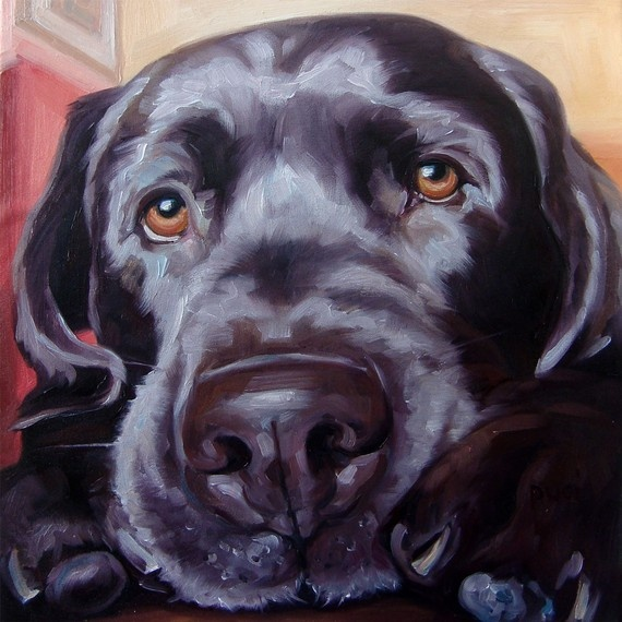 Black Lab Louie custom Pet Portrait Oil by puciPetPortraits, $147.00