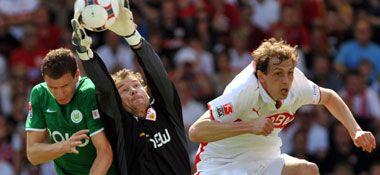 Jens Lehmann gewann mit seinem VfB Stuttgart 4:1 gegen den VfL Wolfsburg. (09.05.2009)