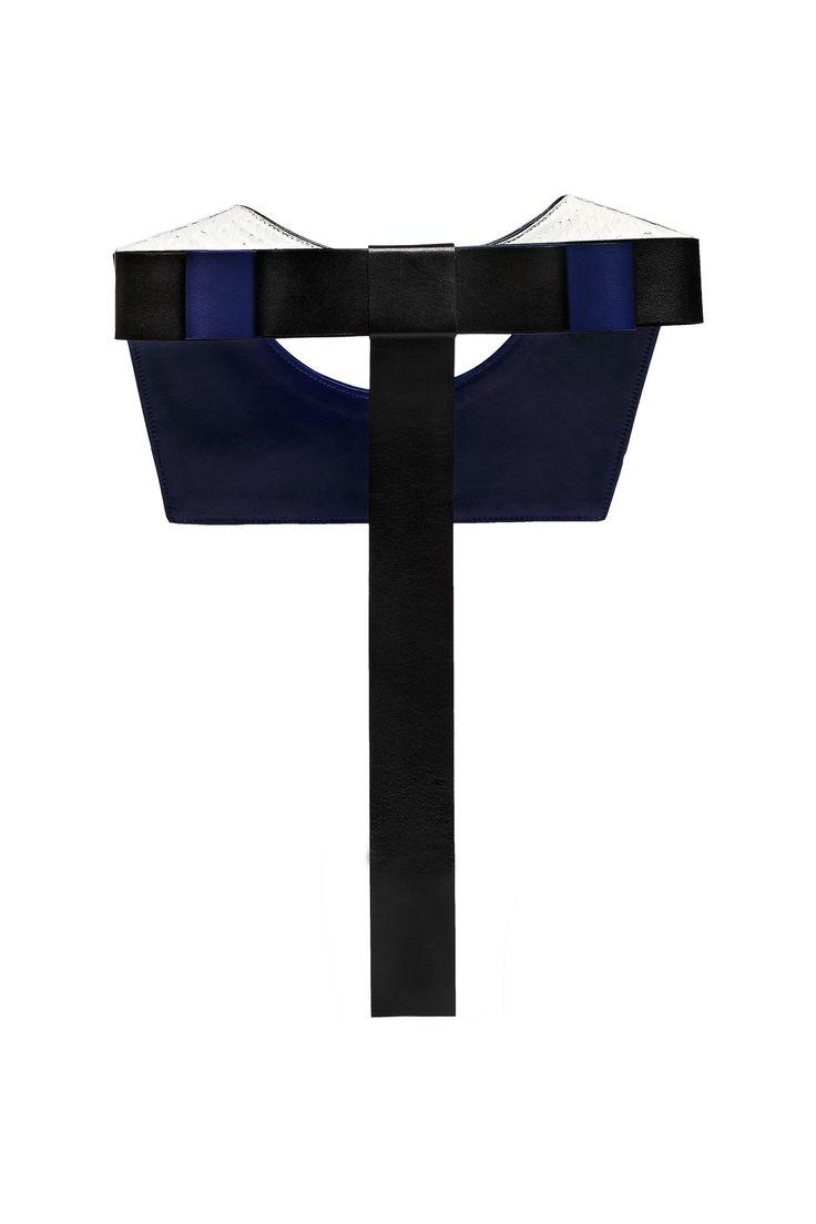 """Daniel Havillio leather bib necklace. """"One"""" necklace in python skin with leather bow. Leather Jewelry. www.danielhavillio.com"""