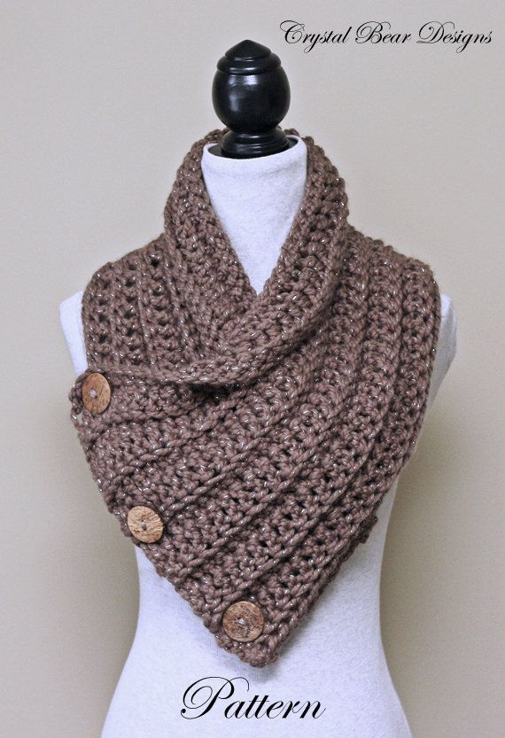 Crochet Cowl 2 PATTERN Set / Button Scarf / by CrystalBearDesigns