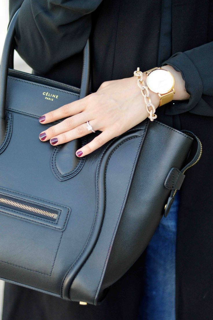 black mini luggage Celine, gold jewelry, gold watch, fall nails With Love, Leena. – A Fashion + Lifestyle Blog by Leena Asad