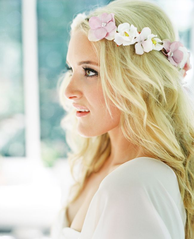 Flowers in the bride's hair.