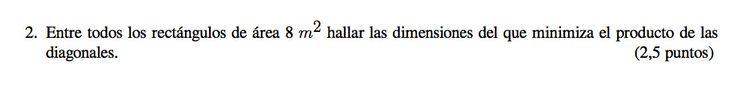 Ejercicio 2B 2012-2013 Julio. Propuesto en examen pau de Canarias. Matemática. Optimización.