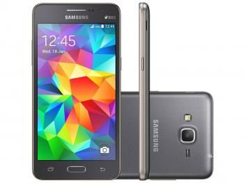 #769,90#Smartphone Samsung Galaxy Gran Prime Duos 8GB - Cinza Dual Chip 3G Câm. 8MP Desbl. Claro