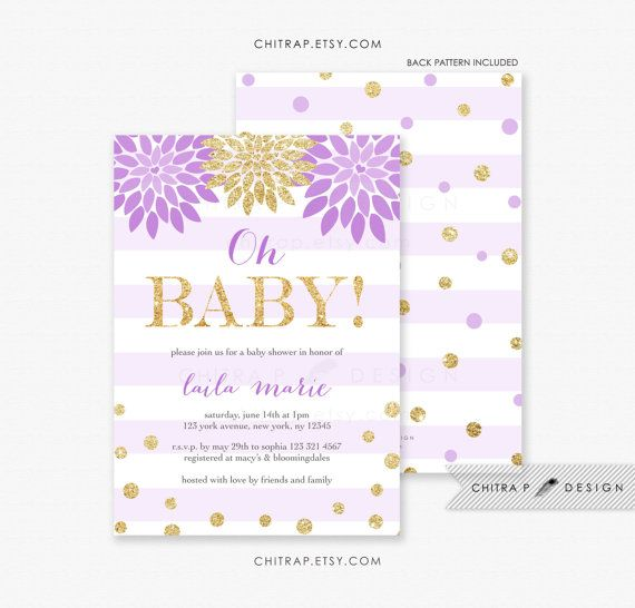 oh baby shower invitation printed purple lavender gold floral