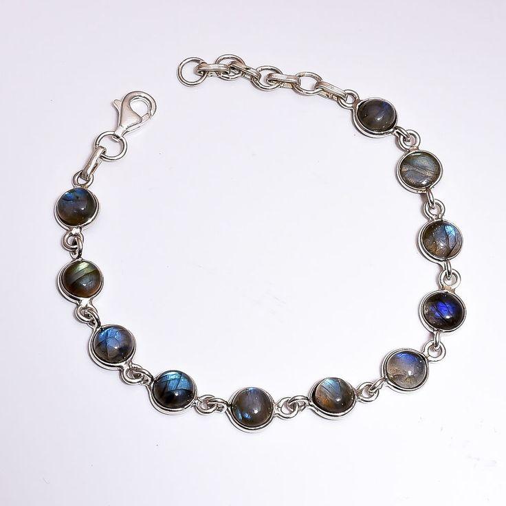 CLEARANCE SALE Labradorite Bracelets 925 Sterling Silver Natural Round Shape #Unbranded