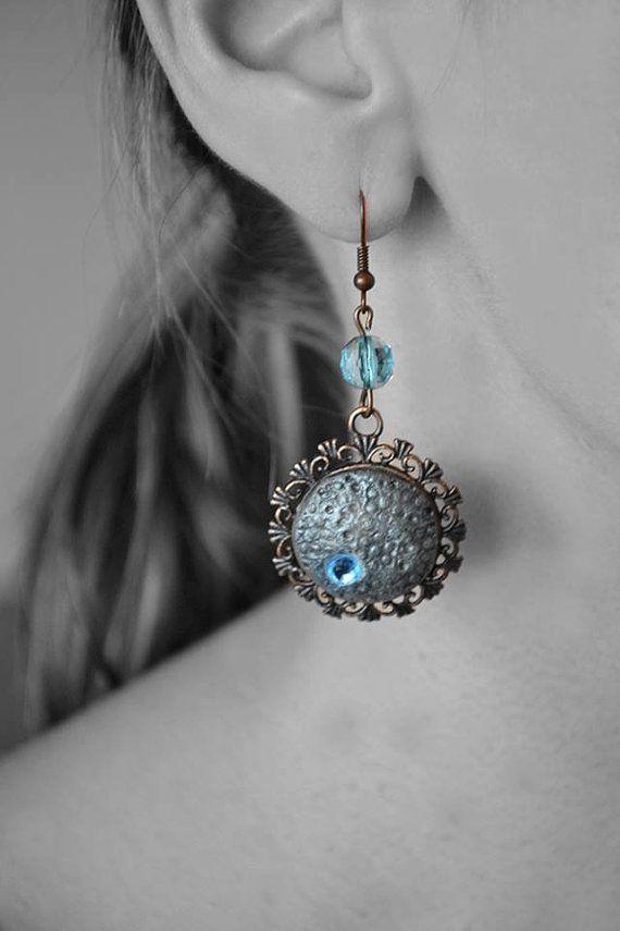 Vintage Style earrings  Old Fashion Stone earrings Polymer