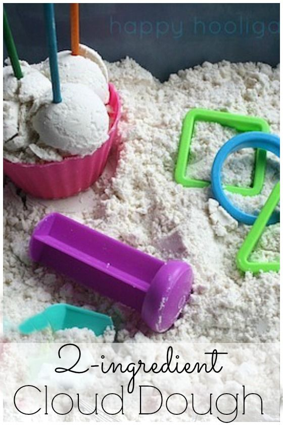 2-ingredient Cloud Dough! Make some now! Ready in under 5 minutes. Silky, soft sensory play that smells SO good!