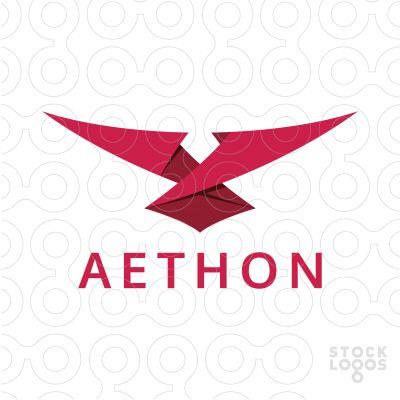 Logo For Sale: Eagle Origami  #bird #eagle #hawk #red #origami #fold #logo #design #creative #fly #flight #wings #animal #unique