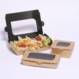 Envase de cartón alimentario, color kraft, para ensaladas o sushi con ventana. Calidad cartón: Alimentario 300 gr/m2. Diferentes capacidades y tamaños disponibles. http://www.ilvo.es/es/product/envase-carton-ensalada