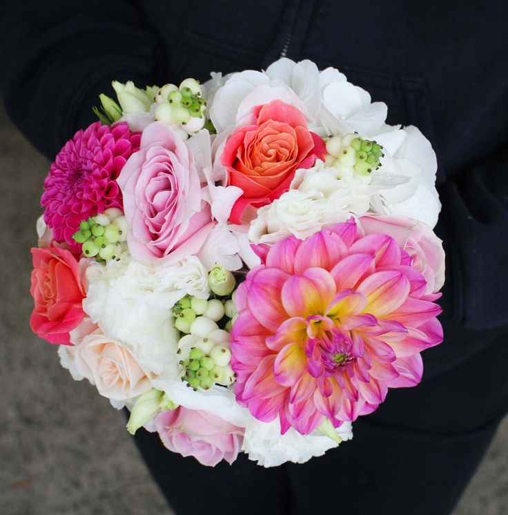 Coral, pink and white roses, hydrangea and dahlia -  Romantic wedding flowers made by Amy's Flowers