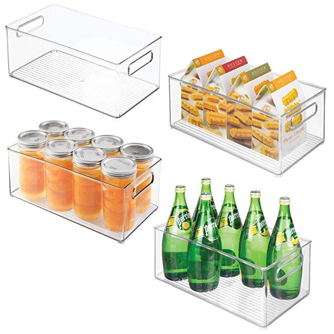 Mdesign Stackable Kitchen Storage Organizer Plastic Bins Boxes Containers Holders With Handles Food Storage Organization Mdesign Kitchen Storage Organization