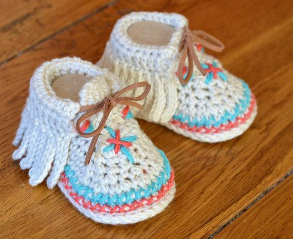 Crochet Pattern Baby Shoes Native American Moccasins 3 Sizes Easy Photo Tutorial