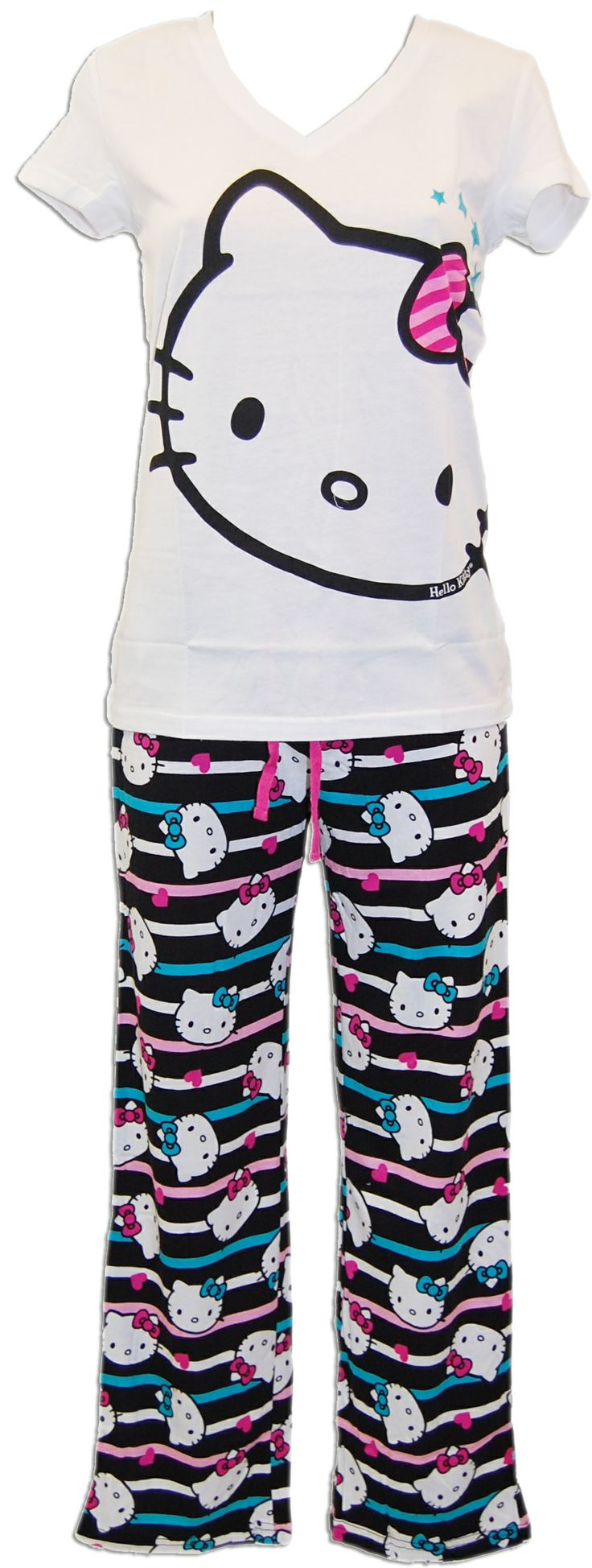 Hello Kitty One Cool Cat White Tee and Striped Pant