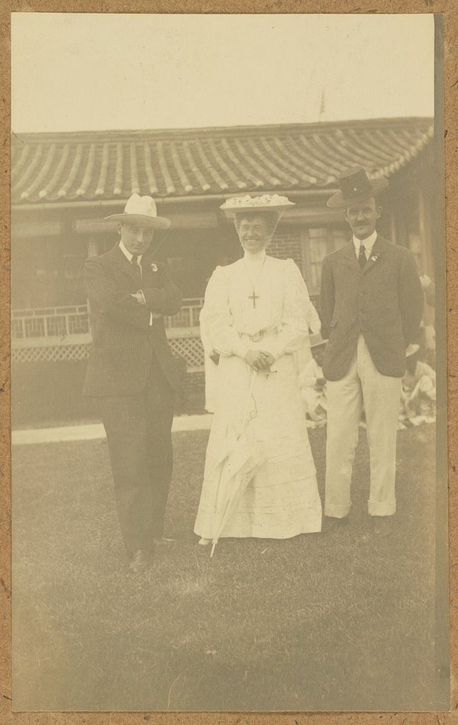[Three westerners mugging for the camera] ca.1904 / Mabel Boardman (1860-1946), a prominent socialite in Washington circles, was one of Alice Roosevelt's chaperones. She was also a good friend of William Howard Taft. With a re-chartering of the American Red Cross in 1905, Taft was appointed its president by Theodore Roosevelt, while in effect Boardman ran the organization. Boardman established the Red Cross as a strong national organization with many branches, a large membership...