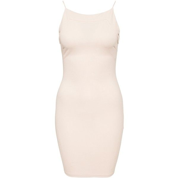 Ax Paris Bodycon String Strap Dress (24.980 CRC) ❤ liked on Polyvore featuring dresses, nude, party dresses, womens-fashion, stretch dress, strappy dress, pink bodycon dress, pink dress and pink body con dress