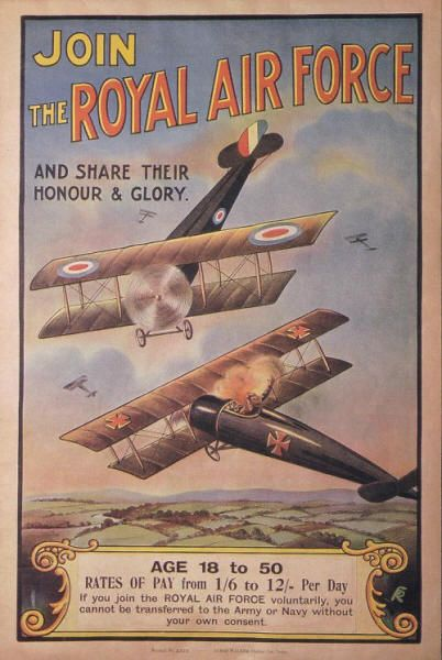 British first WW recruitment poster for the Royal Air Force 1918