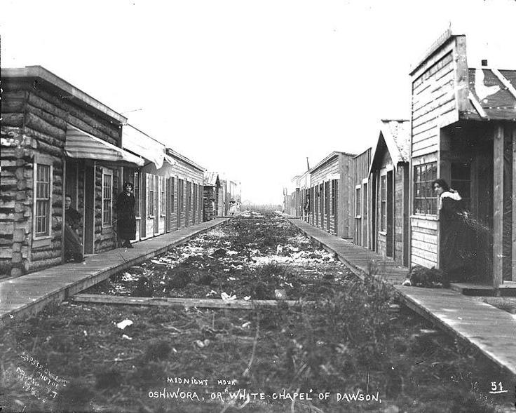 Prostitution district of Klondike City, across the Klondike River from Dawson, Yukon Territory, ca. 1899.