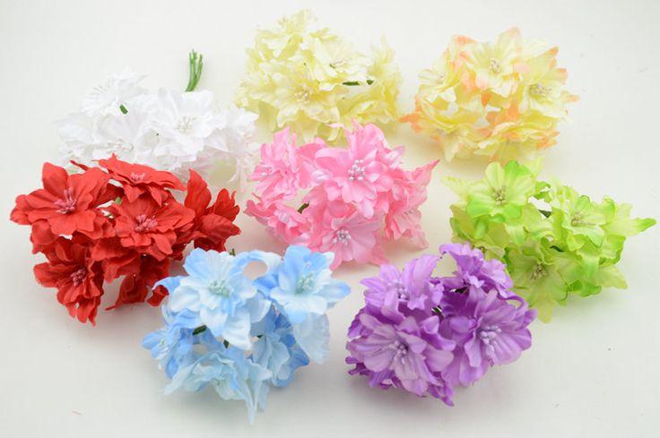 6 unids/lote Diy mariposa Wreath Scrapbooking flores artificiales flores de seda inicio decoración de la boda suministros guirnaldas