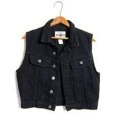 Image result for crop sleeveless denim jacket
