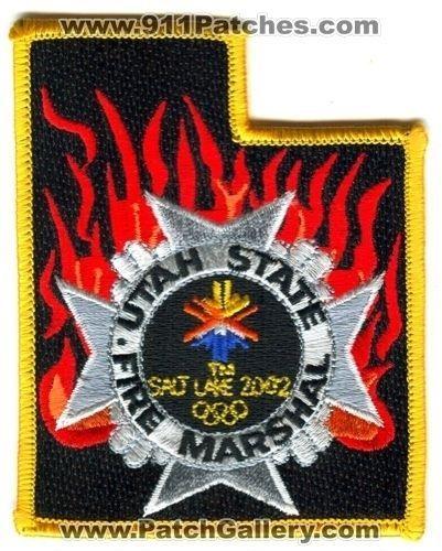 UTAH STATE FIRE MARSHAL SALT LAKE 2002 WINTER OLYMPICS PATCH UT STATE SHAPE RARE