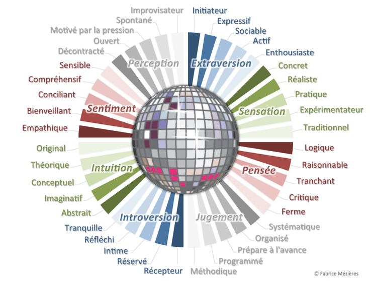 MBTI Level 2 sub-characteristics in French by Fabrice Mezieres. Les 40 facettes des profils MBTI