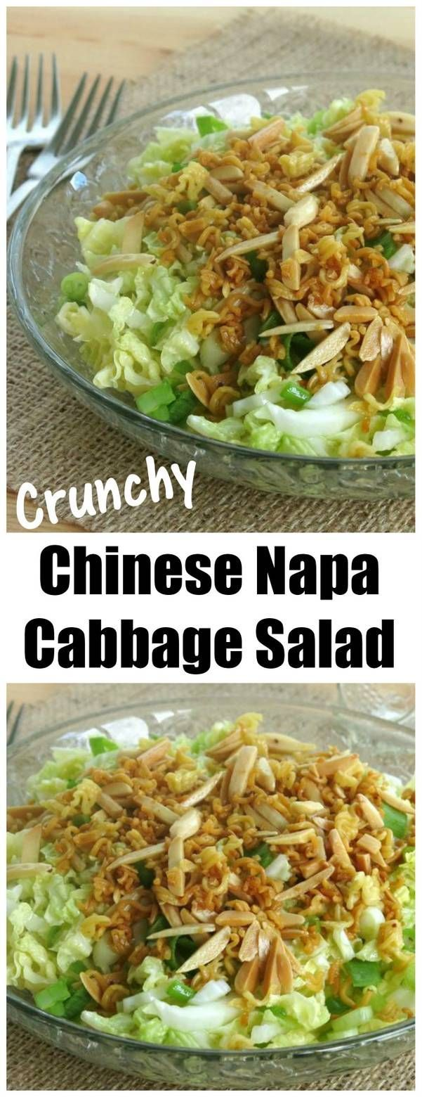Recipe for Chinese napa cabbage salad is tossed with a sesame soy dressing and topped with ramen noodles and slivered almonds browned in butter. A party favorite!