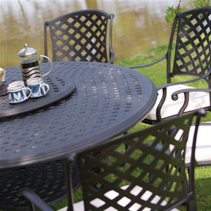 Bramblcrest Sienna Six Seat Round Cast Aluminium Garden Furniture Set