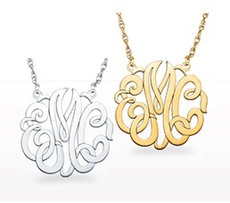 Monogram necklaces: Available to order in 15mm, 25mm, 40mm (10k, 14k, silver: in yellow, white or rose)  www.samuelkleinberg.com