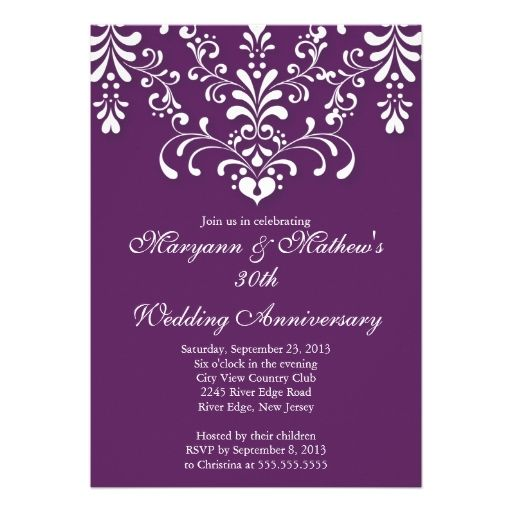 The 652 best 30th anniversary party invitations images on pinterest damask purple wedding anniversary invitation stopboris Image collections