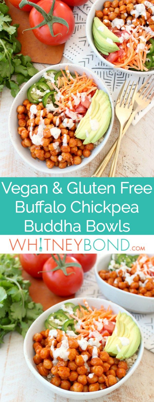 Buffalo chickpeas, quinoa and veggies are tossed together in this healthy, gluten free, vegan buddha bowl recipe, topped with an easy homemade vegan ranch dressing, all made in just 20 minutes!  #vegan #buddhabowl #recipe #glutenfree #mealprep