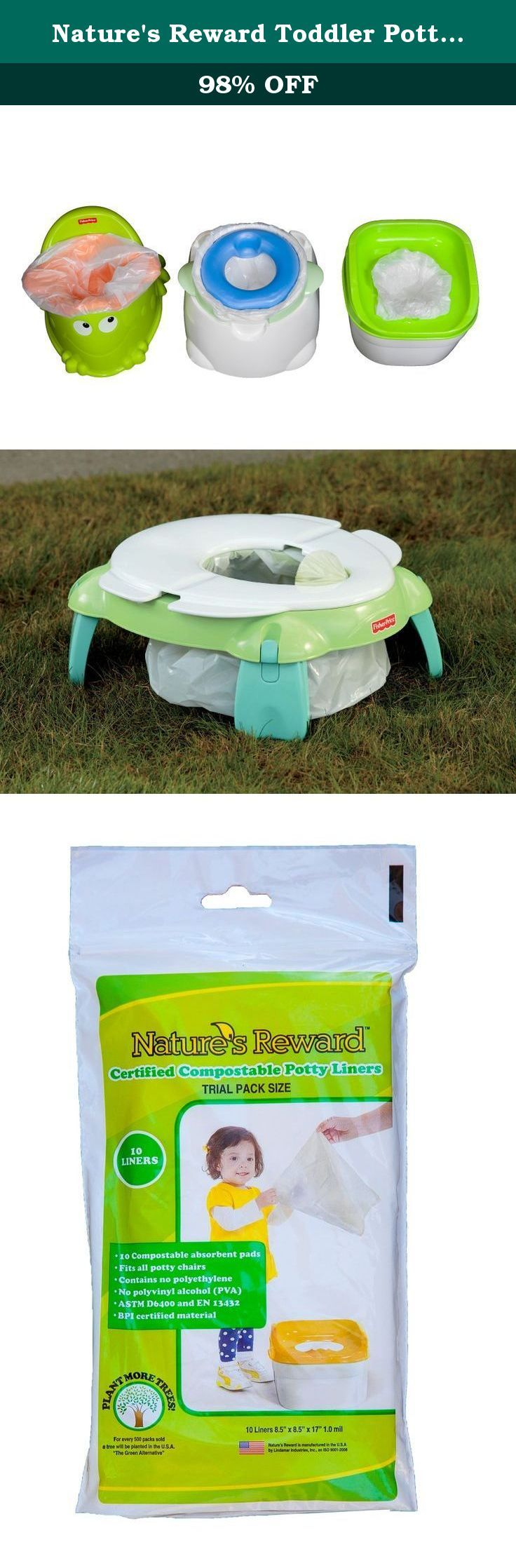 Nature's Reward Toddler Potty Chair Liners, Eco-Friendly, Fits Most Potty Chairs: Trial Pack - 10 Liners. NATURE'S REWARD New Biodegradable Toddler Potty Chair Liners are an environmentally friendly alternative to use when your toddler is potty training. Each liner is manufactured from certified compostable materials including plant based raw materials. It does not contain any traditional petroleum based plastic resin such as polyethylene. Ideal for use in the home or when you travel…