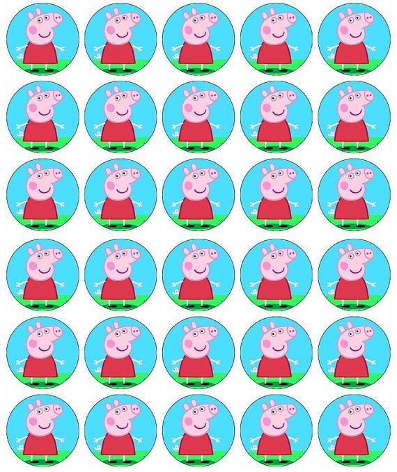 Peppa Pig Cupcake Toppers by Personalisethat on Etsy, £2.99