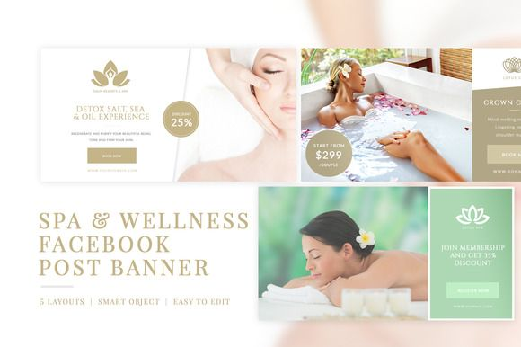 Spa Facebook Ads Post Banners by Micromove on @creativemarket