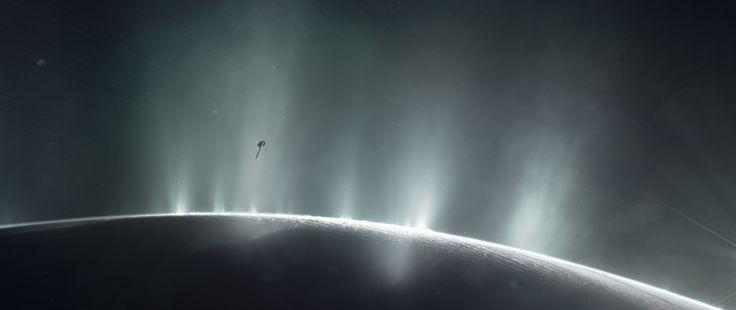Illustration of Cassini Spacecraft Diving Through Plume of 'Ocean World' Enceladus #NASA #ImageoftheDay