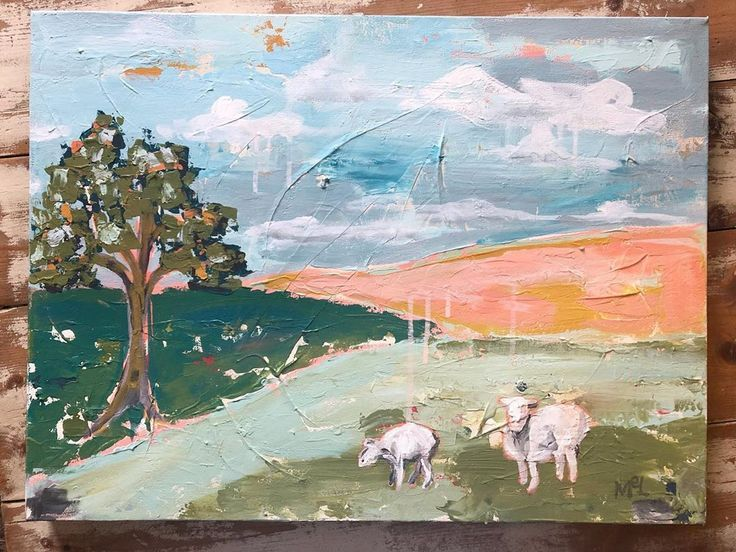 Acrylic Abstract Landscape Art With Sheep By Southern Artist Melissa Lewis I Ll Know My Name When It S Abstract Art Landscape Abstract Expressionist Art Art