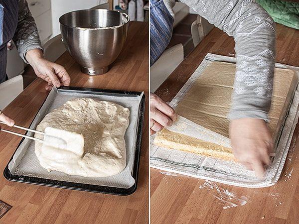 BIZCOCHO GENOVES PARA ENRROLLAR 4 huevos medianos 125 g de azúcar 125 g de harina floja Una pizca de sal Ralladura de limón o de naranja (facultativo) Horno a 180º 15´ un trapo azúcar glas o ligeramente con agua. enrollar el bizcocho caliente. Lo dejamos bien enrolladito enfriando sobre una rejilla. http://www.marialunarillos.com/blog/2013/11/como-hacer-una-plancha-de-bizcocho-para-enrollar.html