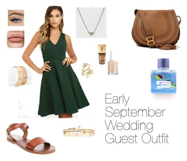 """Early September Wedding Guest Outfit"" by pigglemacguiggle on Polyvore featuring SUGARFIX by BaubleBar, LULUS, Merona, Eddie Borgo, Luv Aj, Yves Saint Laurent, Essie and Chloé"