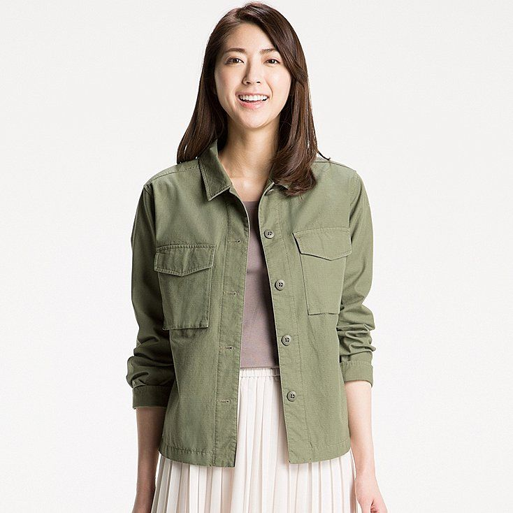 WOMEN MILITARY SHIRT JACKET, OLIVE, large