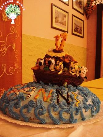 """torta per il primo compleanno a tema """"Arca di Noè"""""""