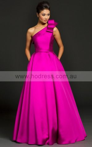 Princess One Shoulder Empire Sleeveless Floor-length Evening Dresses zbh091--Hodress